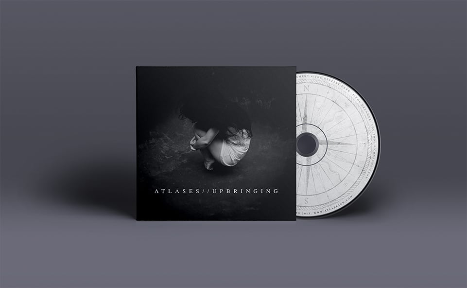 Front cover design for atlases upbringing album with disc view